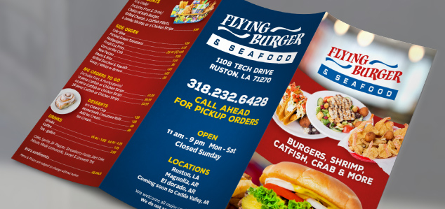 Flying Burger Menu Back Photo