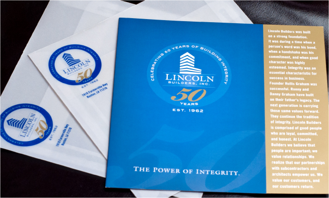 Lincoln Builders 50th Anniversary Brochure Cover Photo