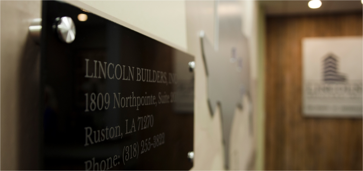 Lincoln Builders Office Name Plate Installation Photo