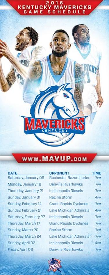 Kentucky Mavs Schedule Card Image
